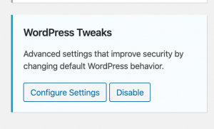 Visual of WordPress tweaks and the configure settings button