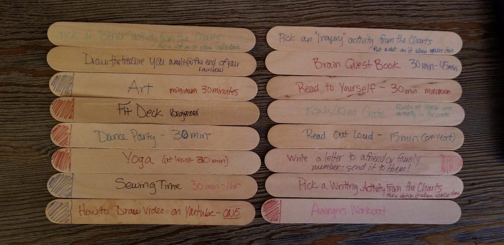 activities written on jumbo craft sticks